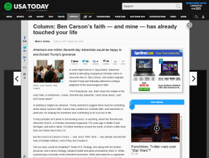 USA Today Column Ben Carson's Faith and mine has already touched your life October 2015